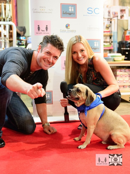 Red Carpet host Stephanie Haney and Harry Winston the pup