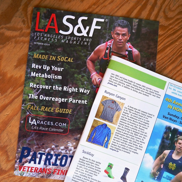 Runyon Canyon Apparel featured in Los Angeles Sports and Fitness Magazine October 2014